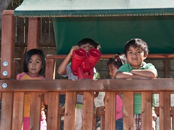 Children at the play structure